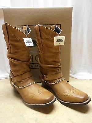 Ladies Slouch Harness Motorcycle Leather Boots 5 6 8 10