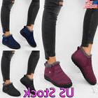 Ladies Women Winter Warm Fur-lined Ankle Snow Boots Flat Cot