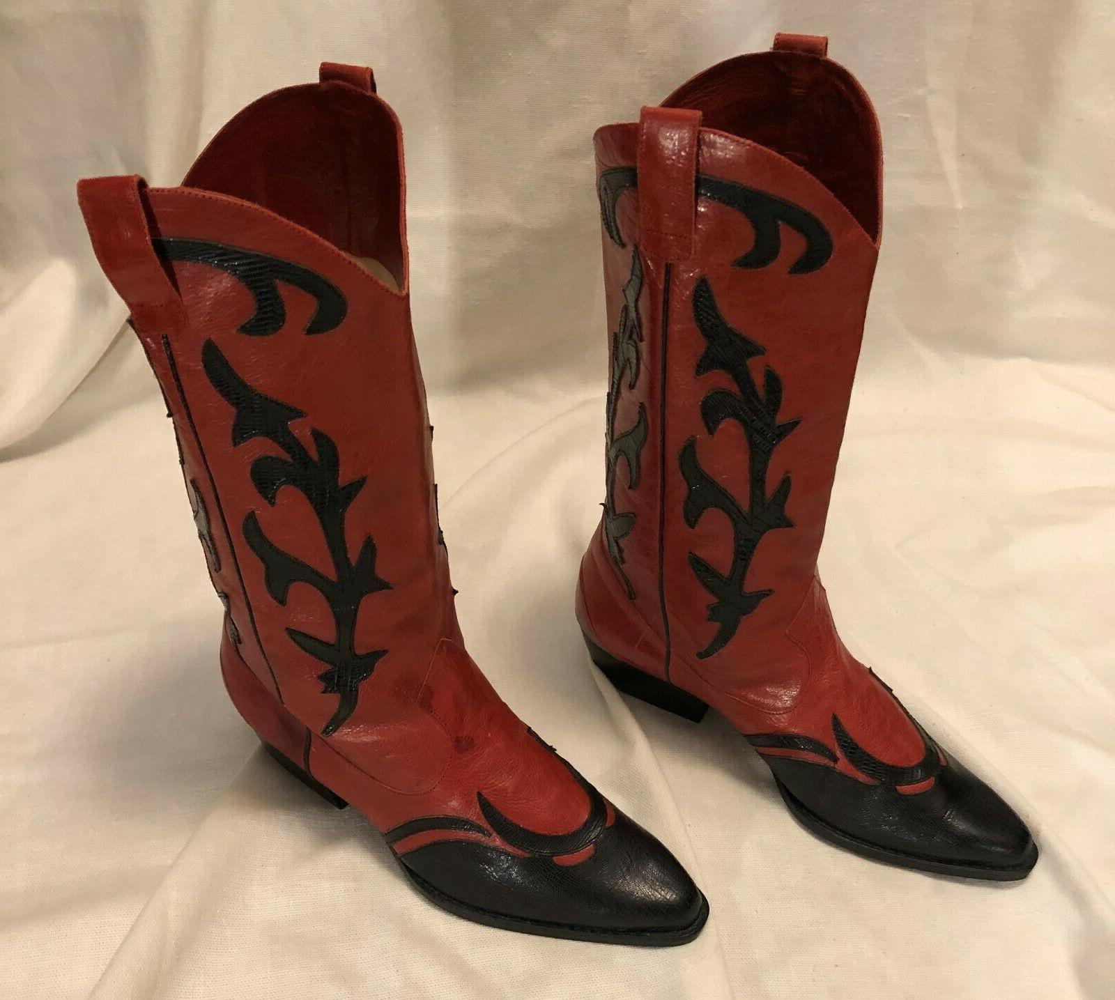leather red black western cowboy riding boots