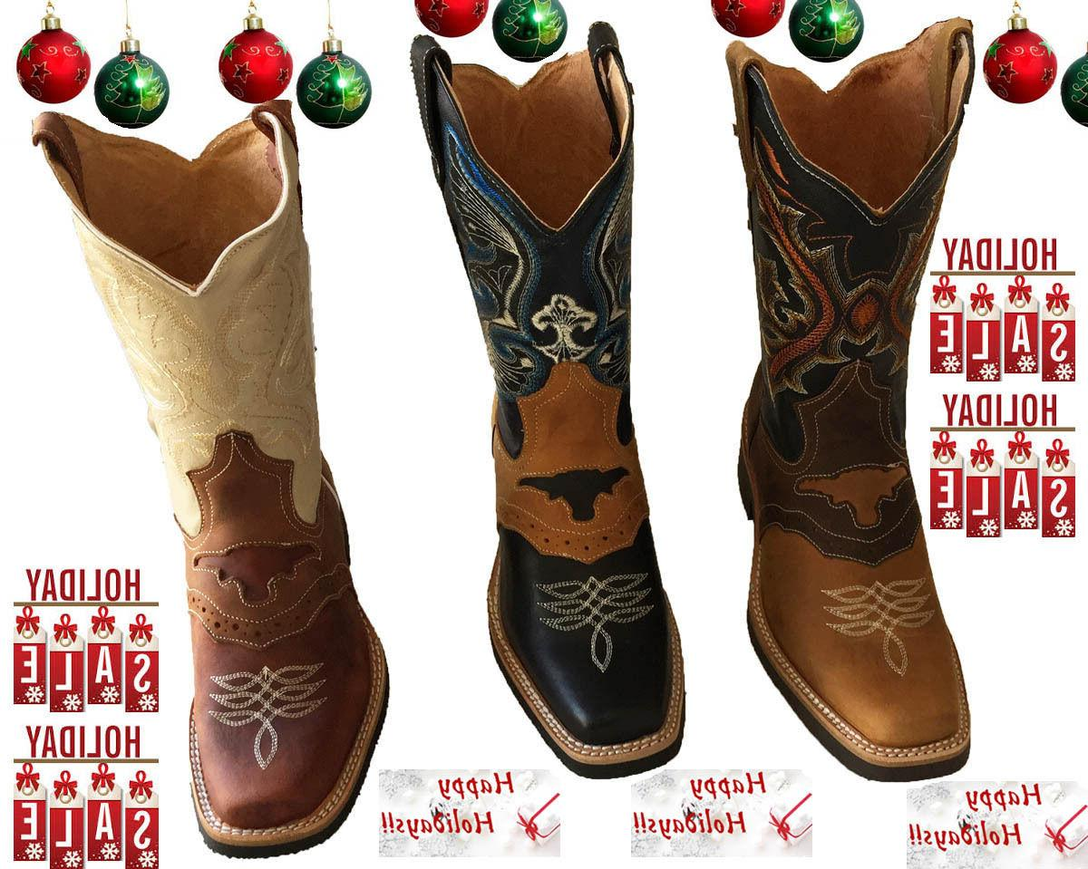 Men cowboy boots Genuine Cowhide Leather square toe rodeo we
