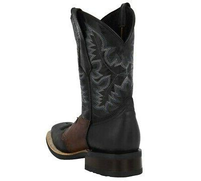 Men's Black Western Cowboy Bull Inlay Rubber Square