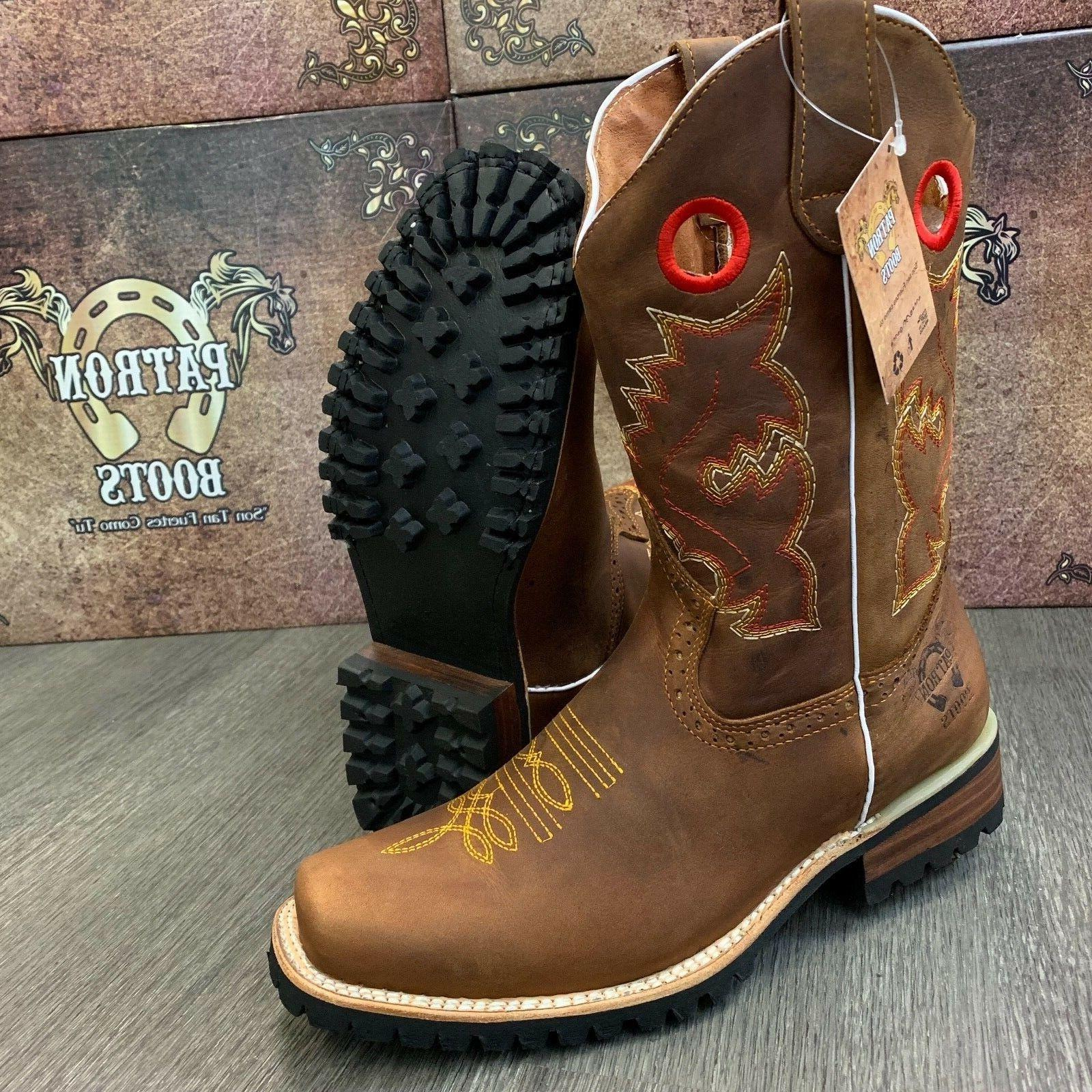 men s brown boots western cowboy square