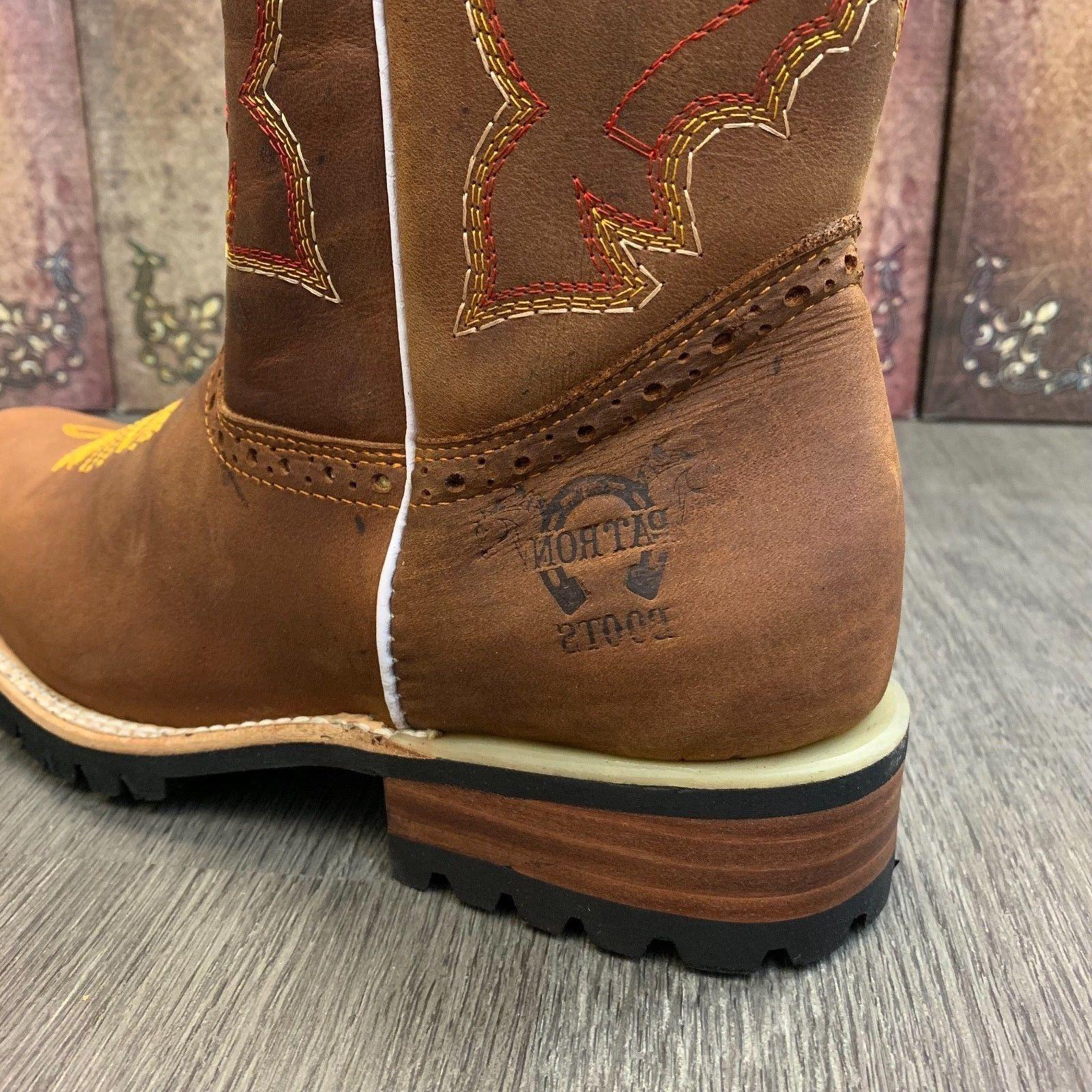 MEN'S BROWN BOOTS COWBOY TOE CRAZY LEATHER TRACTOR