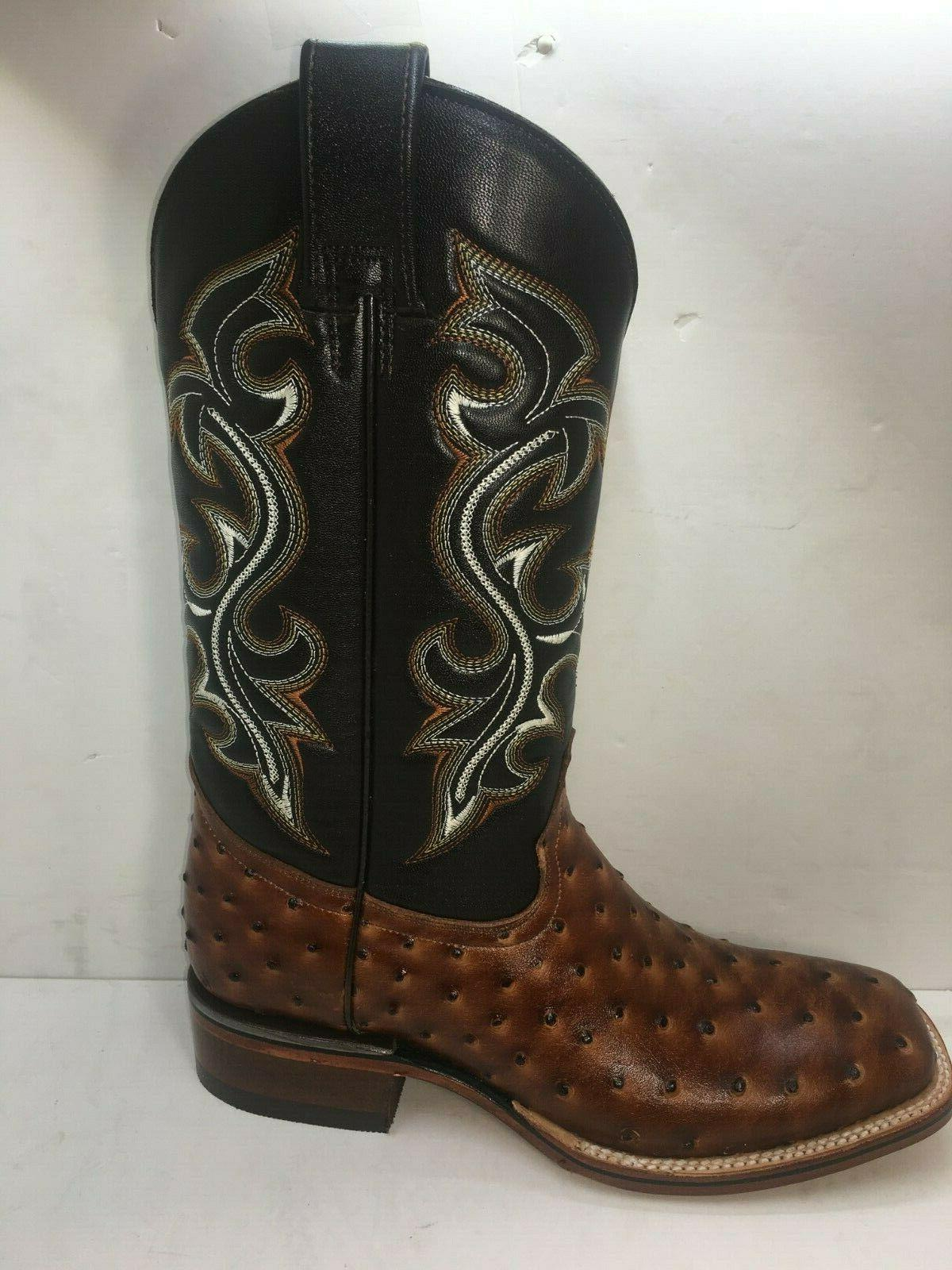 Men's Ostrich Print Leather Western Rodeo Square