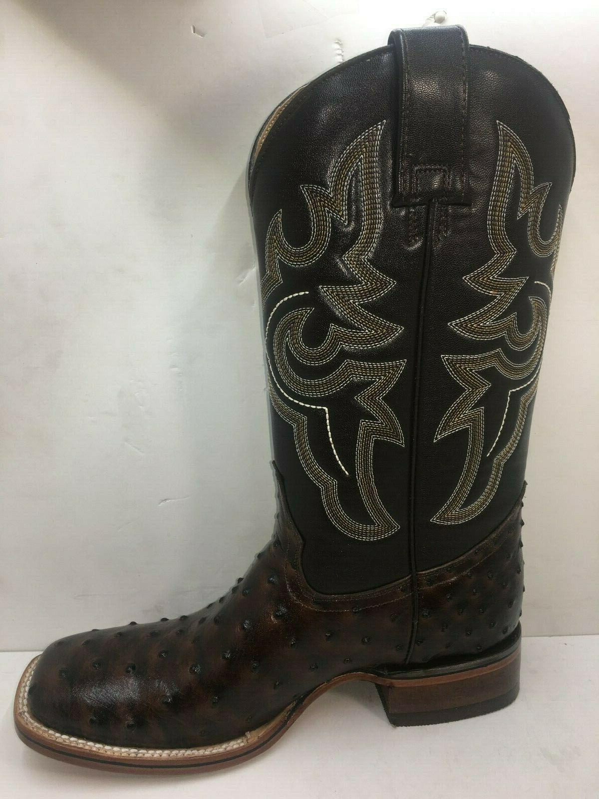Men's Boots Ostrich Print Western Rodeo Square Boots