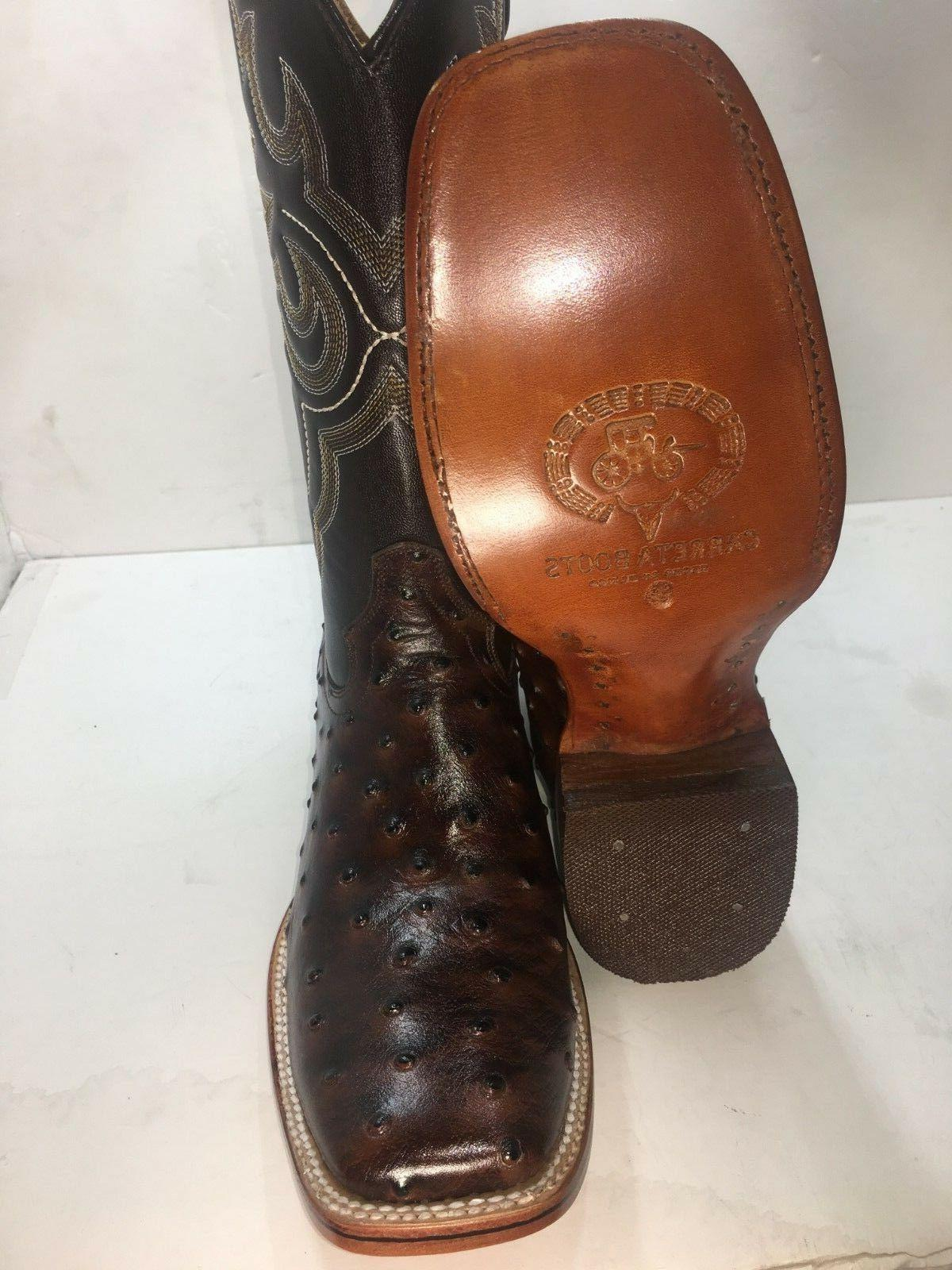 Men's Cowboy Ostrich Print Rodeo Square Toe Ho