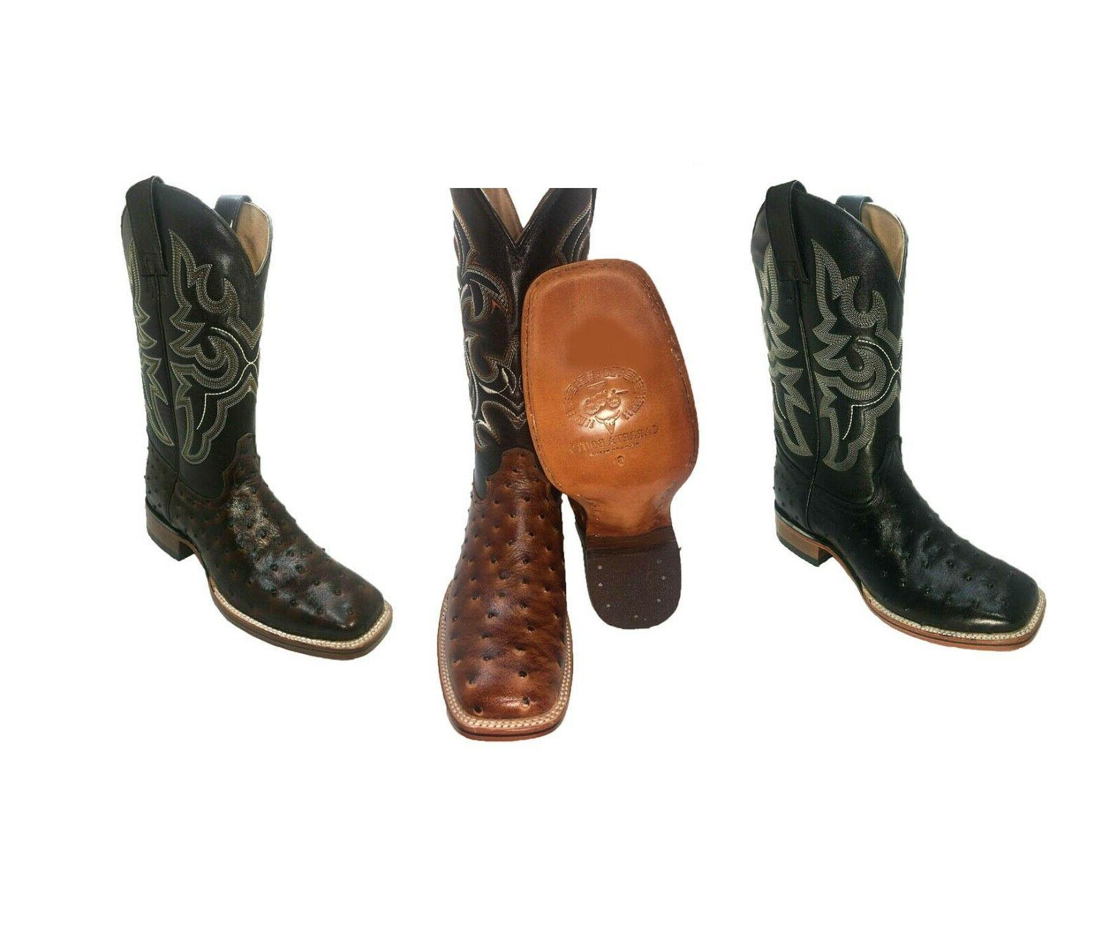 516bafe8f8f Men's Cowboy Boots Ostrich Print Leather Western Rodeo