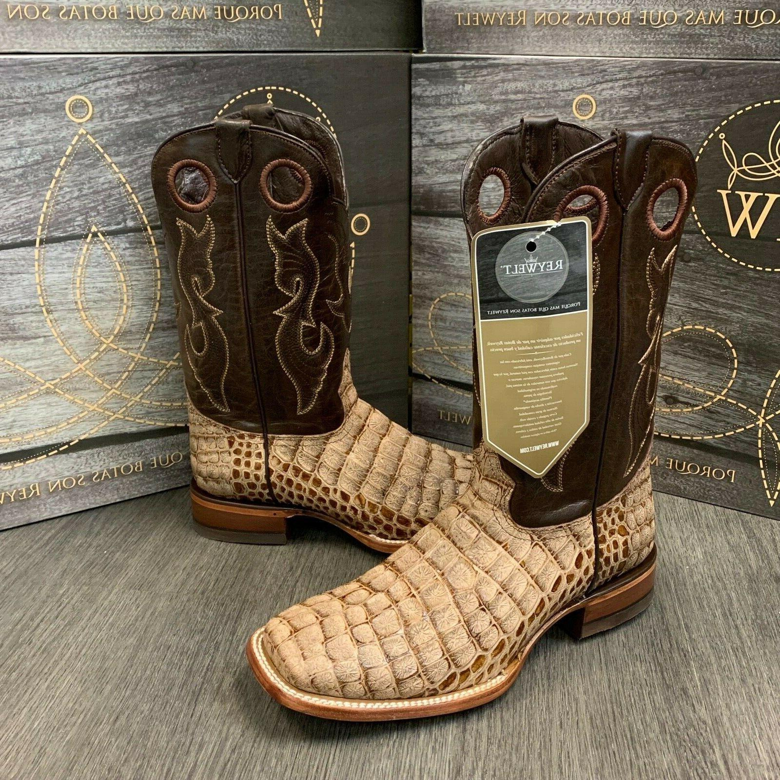 MEN'S BOOTS COCO PRINT WESTERN SQUARE TAN COLOR