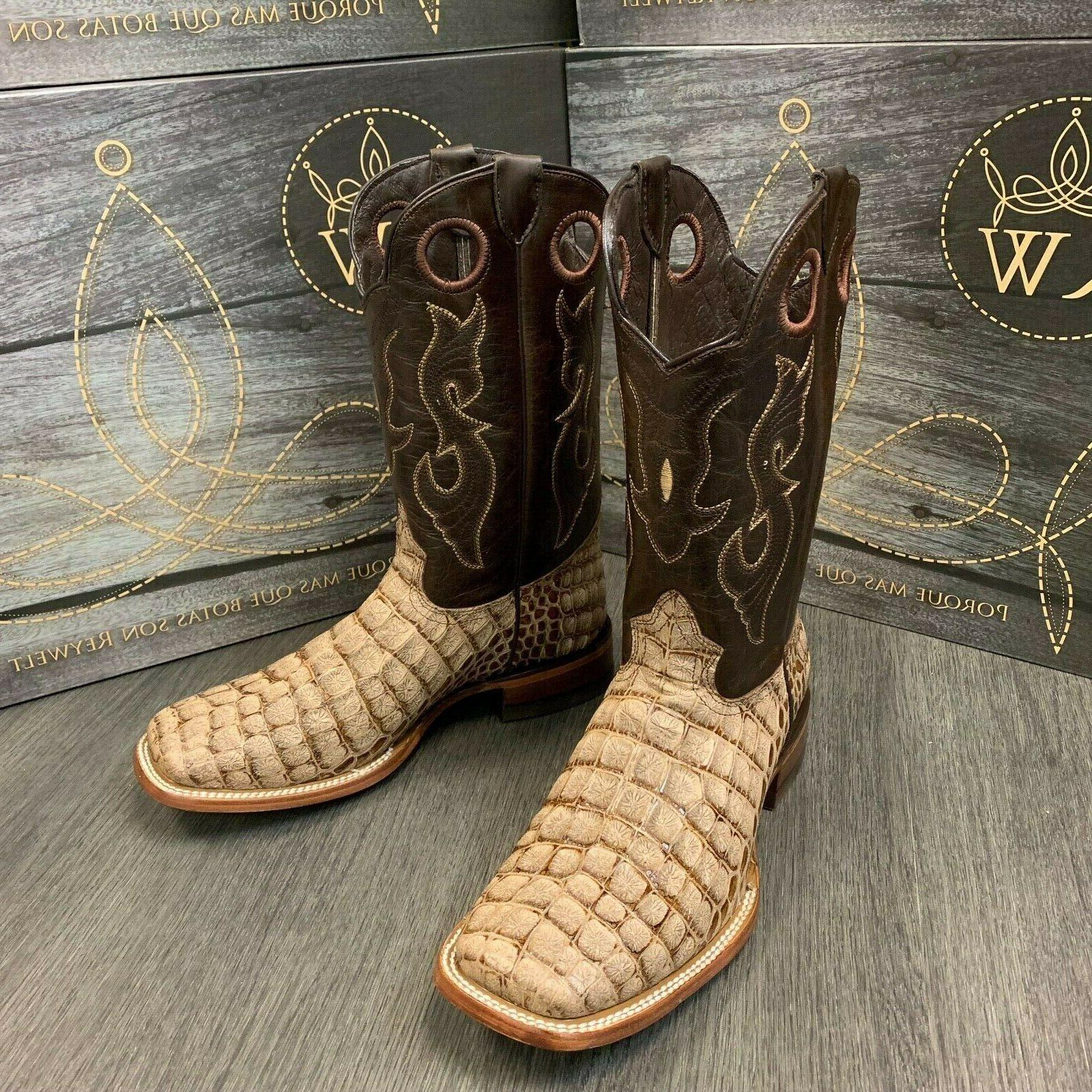 MEN'S COWBOY COCO ALLIGATOR WESTERN SQUARE TOE BOOTS TAN COLOR