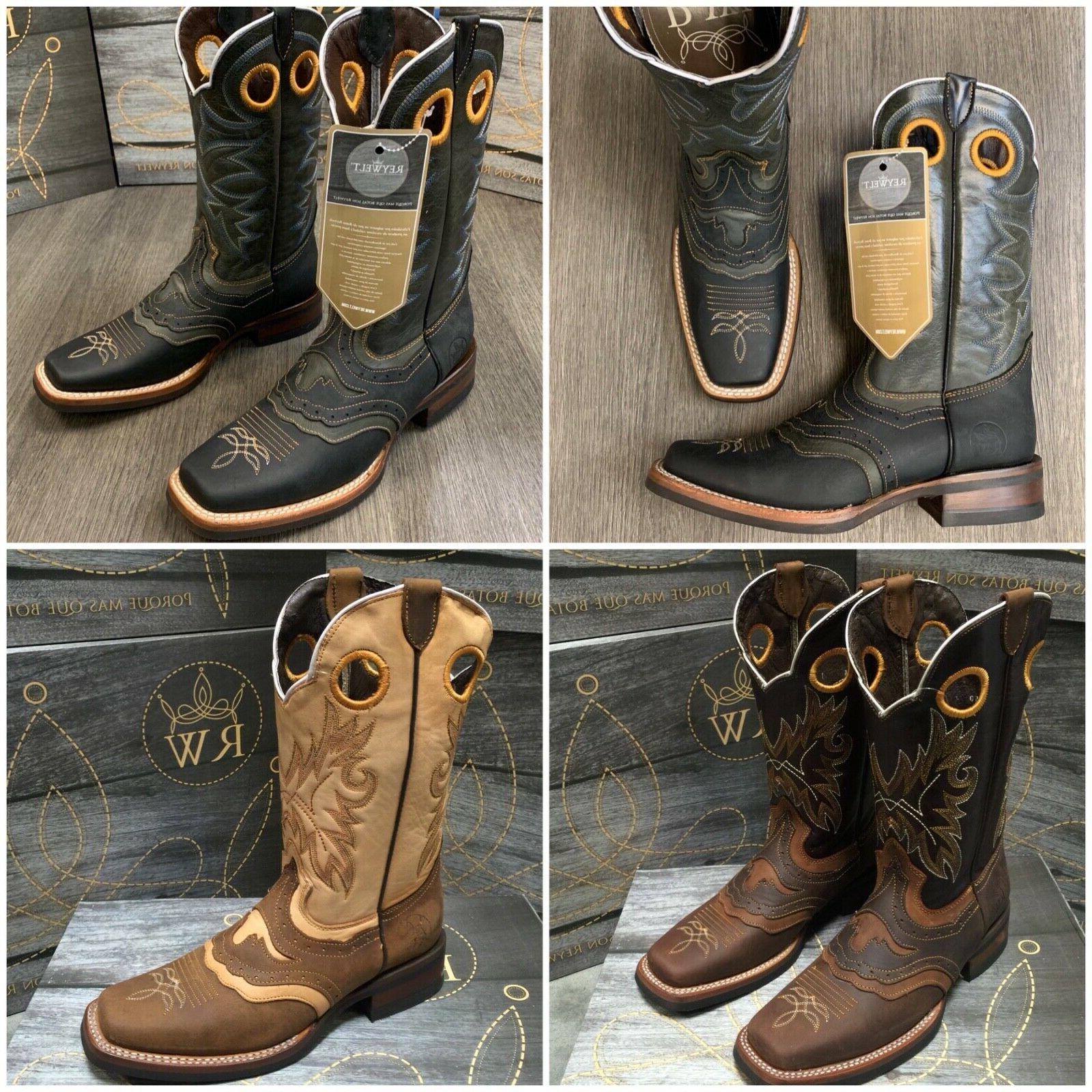 classic promotion fashion style of 2019 MEN'S RODEO COWBOY BOOTS GENUINE LEATHER WESTERN SQUARE TOE BOOTS BROWN  BOTAS