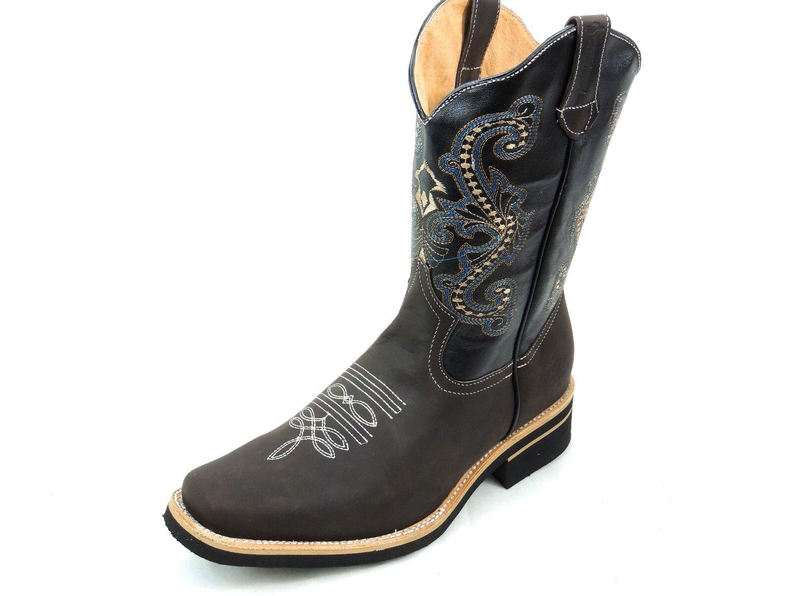 MEN'S RODEO BOOTS GENUINE LEATHER TOE SADDLE