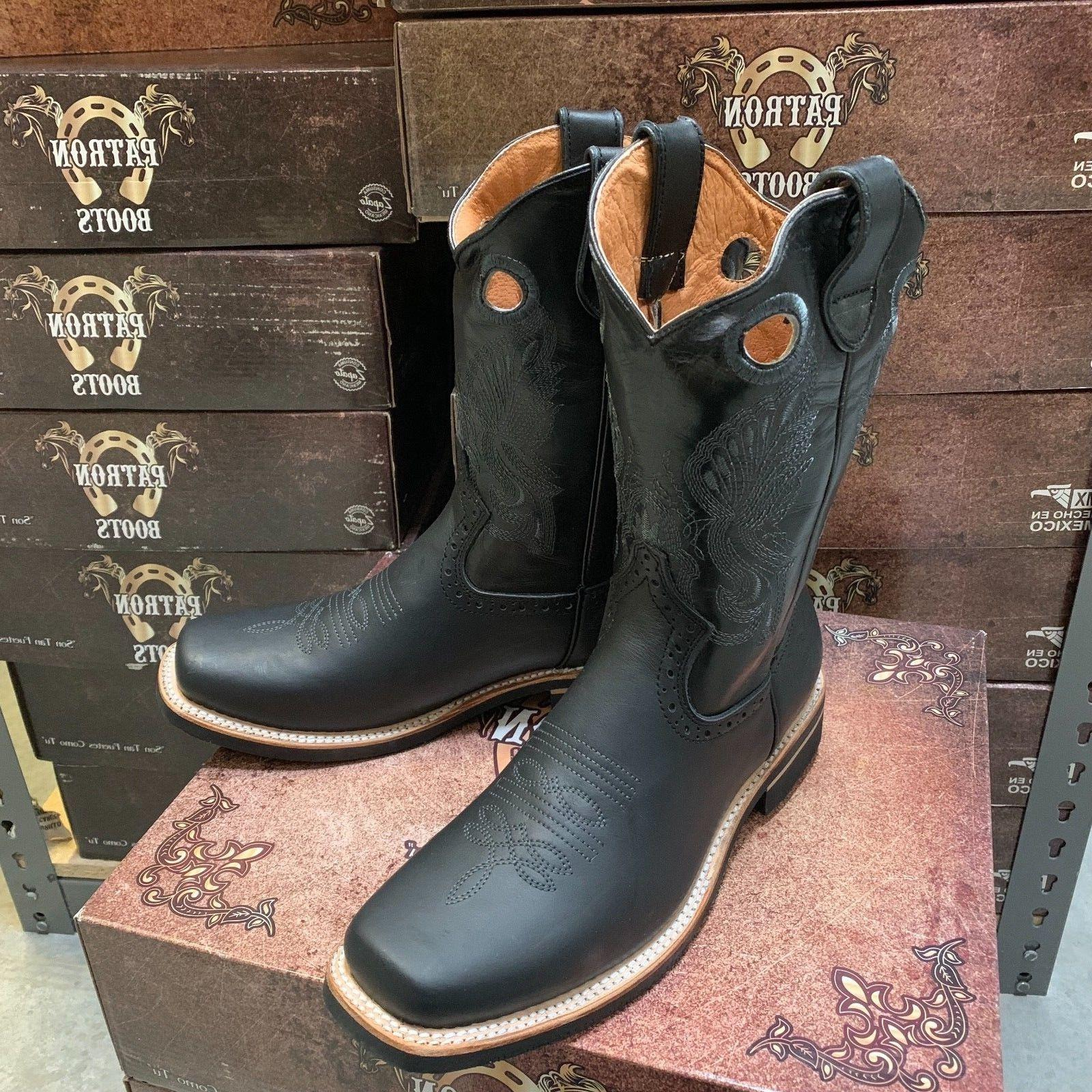 MEN'S COWBOY GENUINE TOE BLACK BOTAS