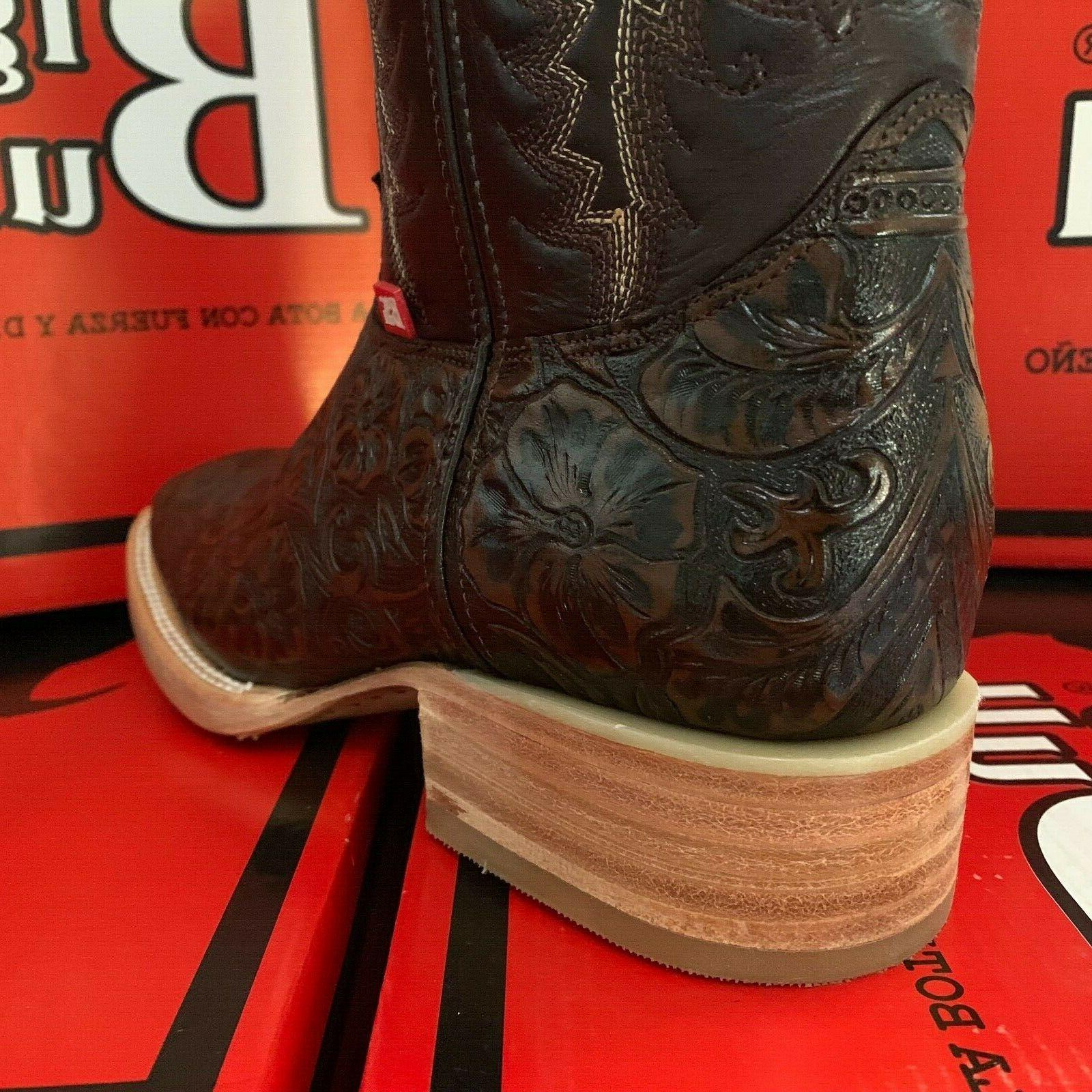MEN'S RODEO HAND TOOLED LEATHER WESTERN SQUARE TOE