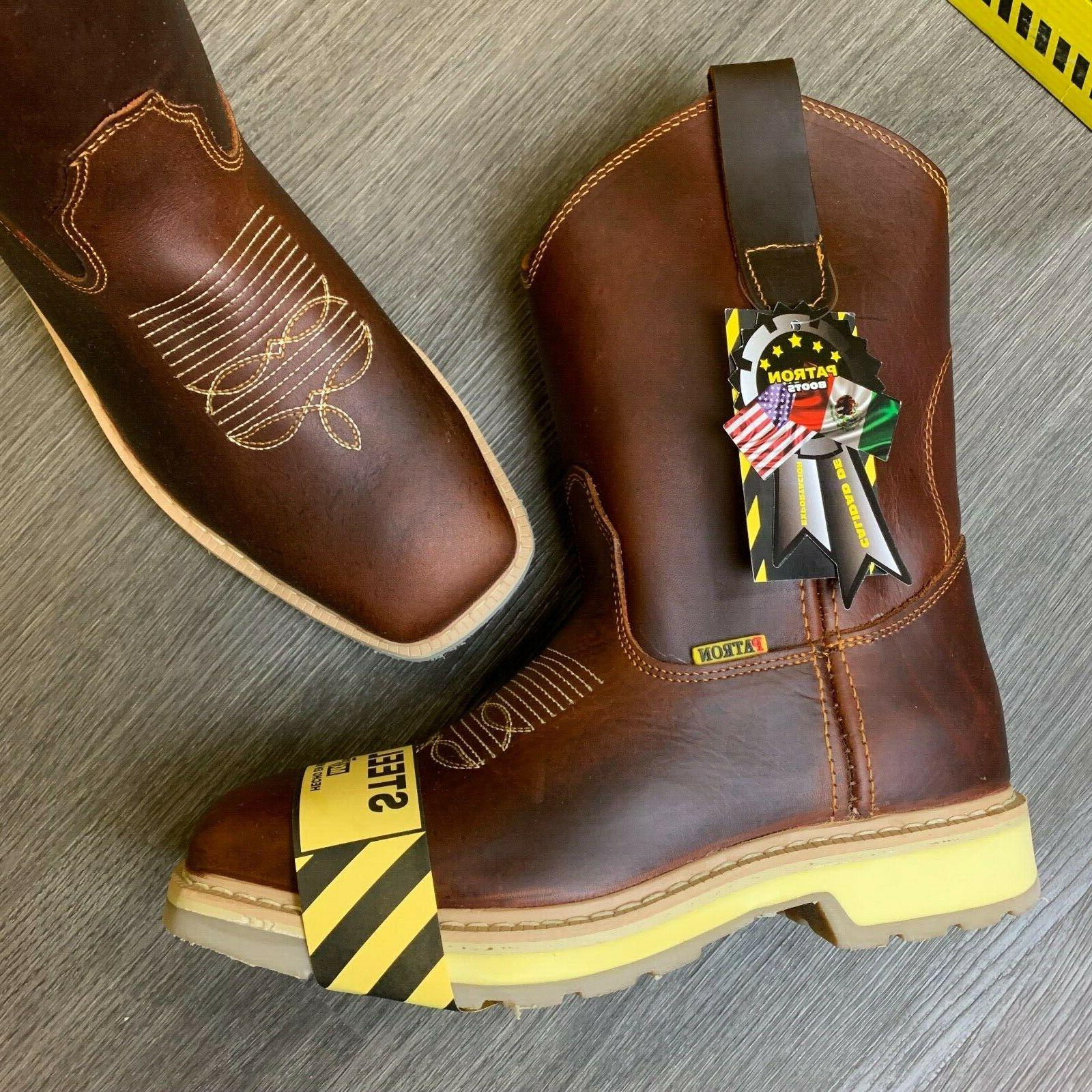 MEN'S STEEL TOE WORK BOOTS GENUINE WESTERN COWBOY PULL ON BOOTS