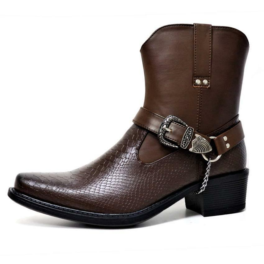 Mens Ankle Cowboy Boots Fashion Chelsea Western Harness Boots
