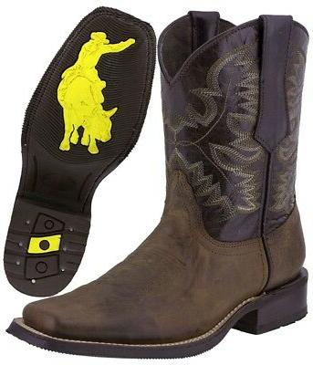 Mens Style Western Cowboy Square Toe Leather