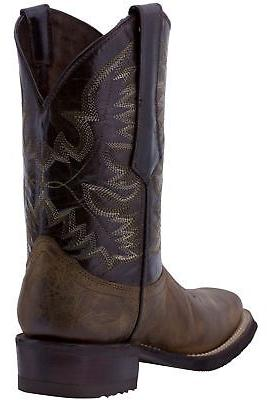 Mens Style Western Boots Square Leather