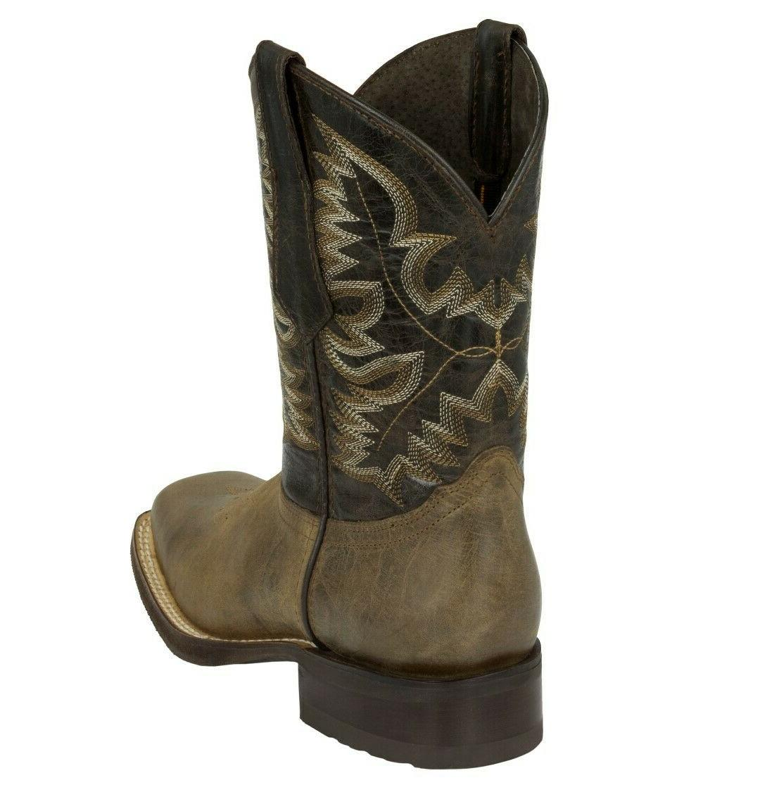 Mens Brown Work Saddle Style Western Square Toe Leather