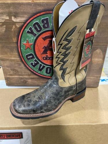 mens cowboy boot square toe all leather