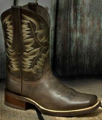 Mens Saddle Style Boots Leather