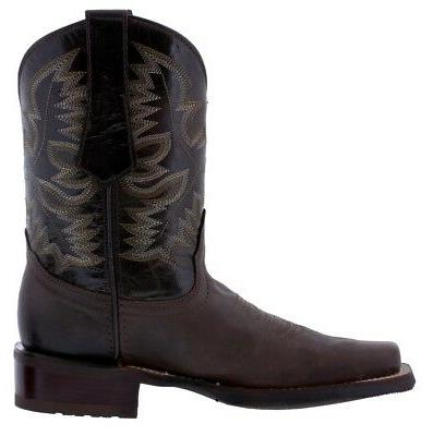 Mens Dark Saddle Western Boots Square Toe Real Leather