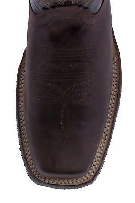 Mens Dark Saddle Style Cowboy Boots Square Toe Leather