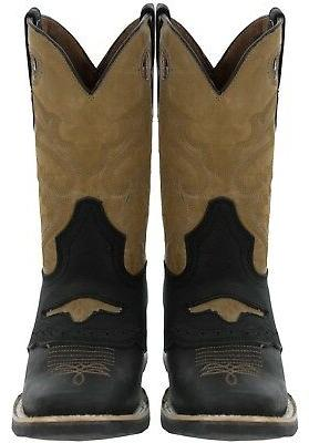 Mens Leather Western Cowboy Boots Assorted Colors Square