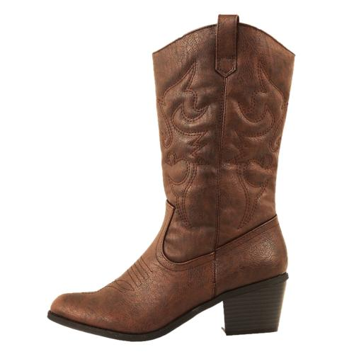 West Blvd Miami Cowboy Western Boots, Brown Pu, 7.5