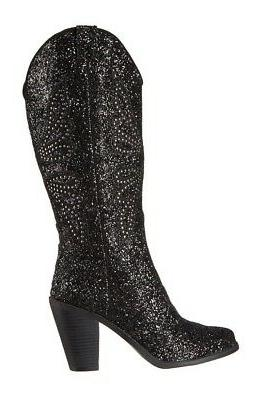 New Jessica Simpson Caralee Western Chunky Black Glitter Cow