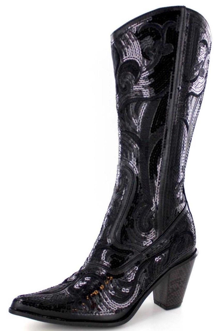 new helens heart black sequin cowboy boots