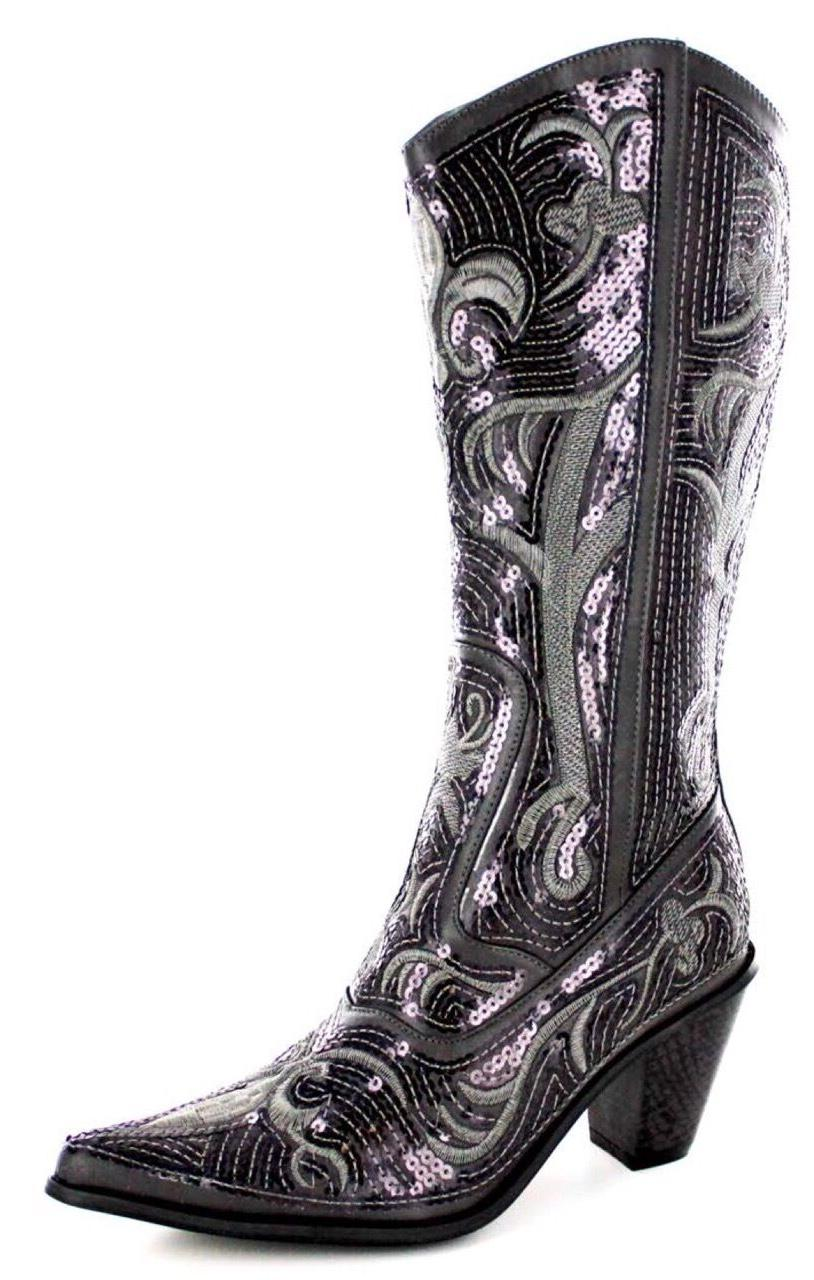 new helens heart pewter grey sequin cowboy