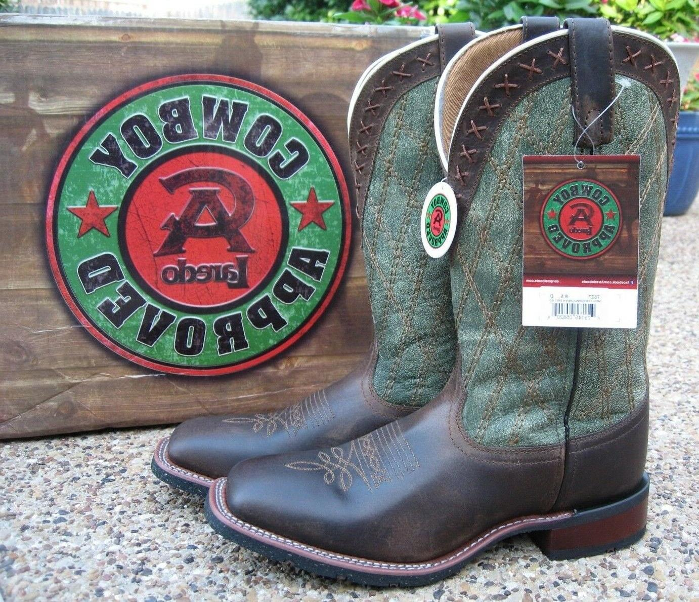 NEW Mens Laredo Trent Brown / Green Leather Square Toe Weste