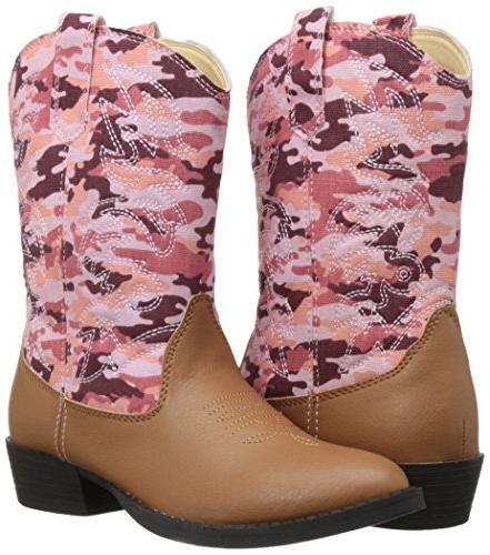 Deer Ranch Cowboy Boot Tan/Pink 11 Kid