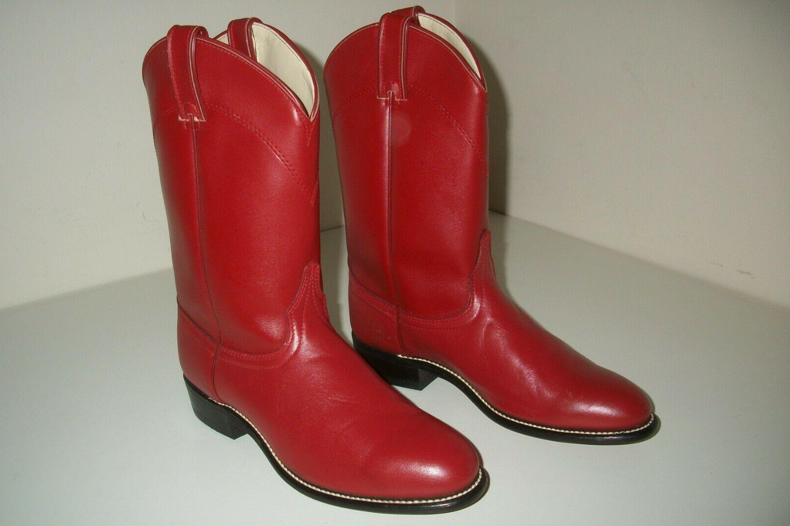 red leather roper cowboy pull on boots