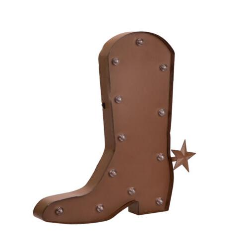 Glitzhome Rusty LED Western Boot Light