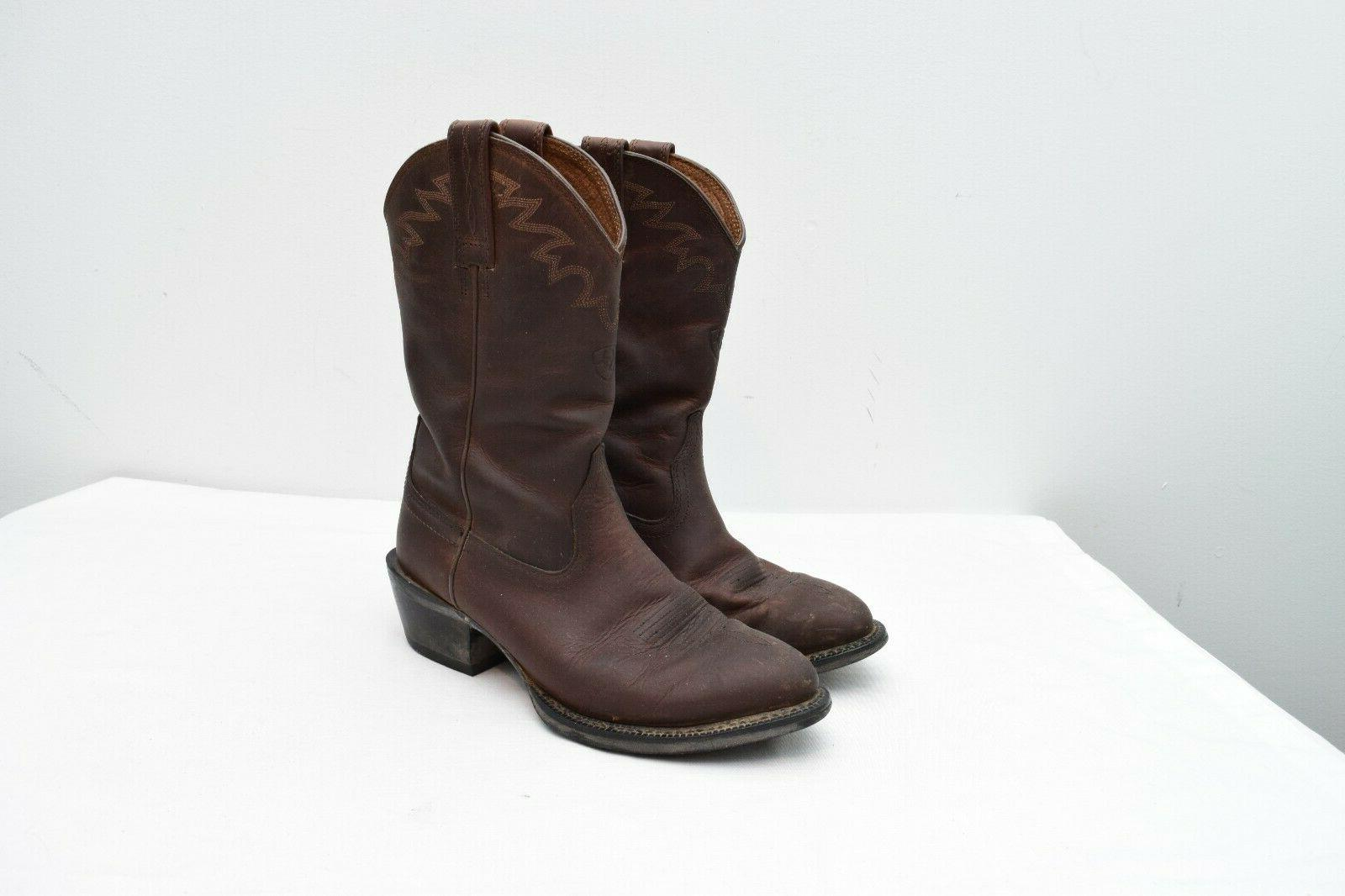 sedona western brown leather cowboy boots 9d