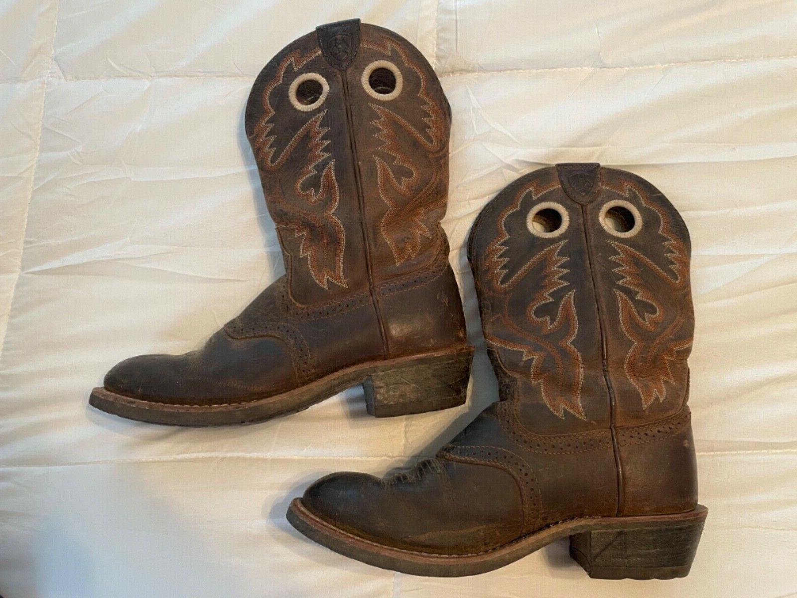 Ariat Toe Saddle Vamp Cowboy Western Boots Size Brown