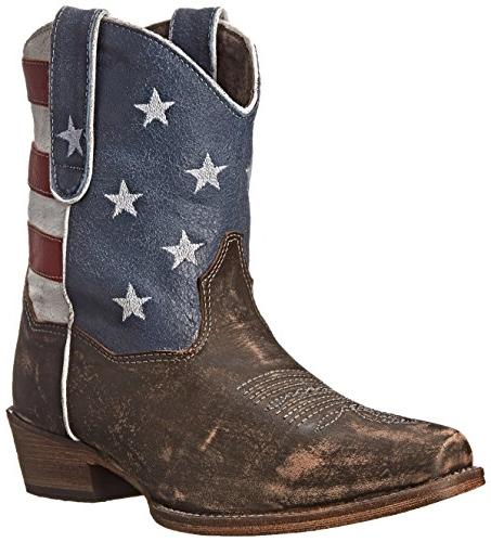 western boots ankle flag