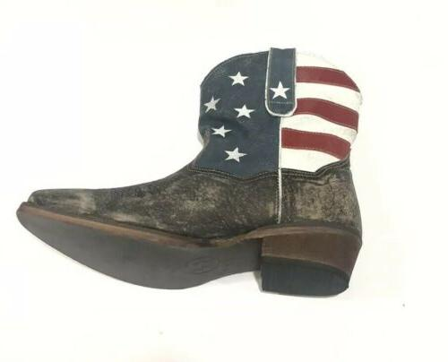 Roper Western Boots Sz 10 Flag Brown