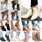 Women Ankle Boots Ladies Casual Mid Block Heel Chunky Bootie