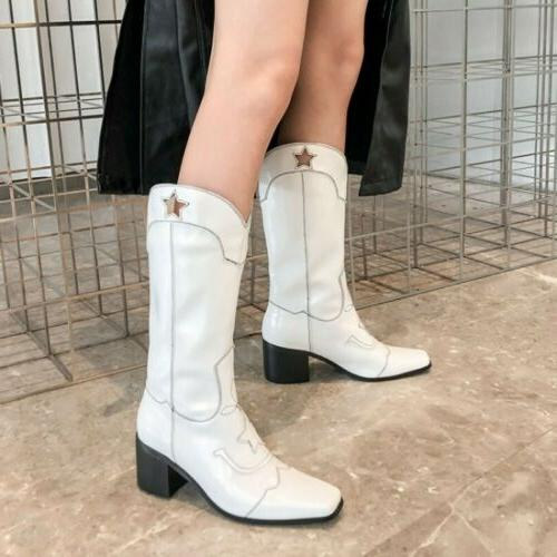 Women Cowgirl Cowboy Boots Ladies Mid Knee High Shoes US Size