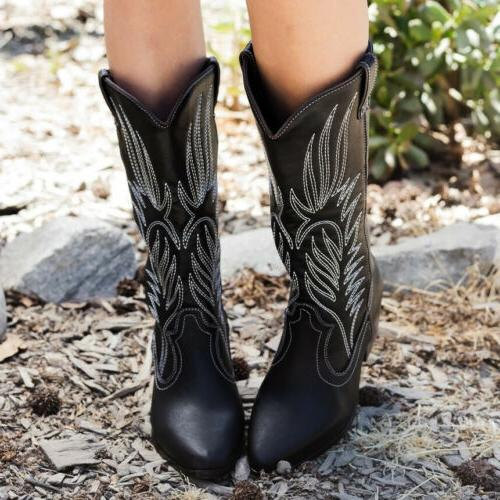 Women Mid-Calf Cowboy Boots Mid Heel Pull On Embroidery Booties US