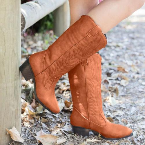 Women Western Cowboy Boots Mid Heel Pull On US