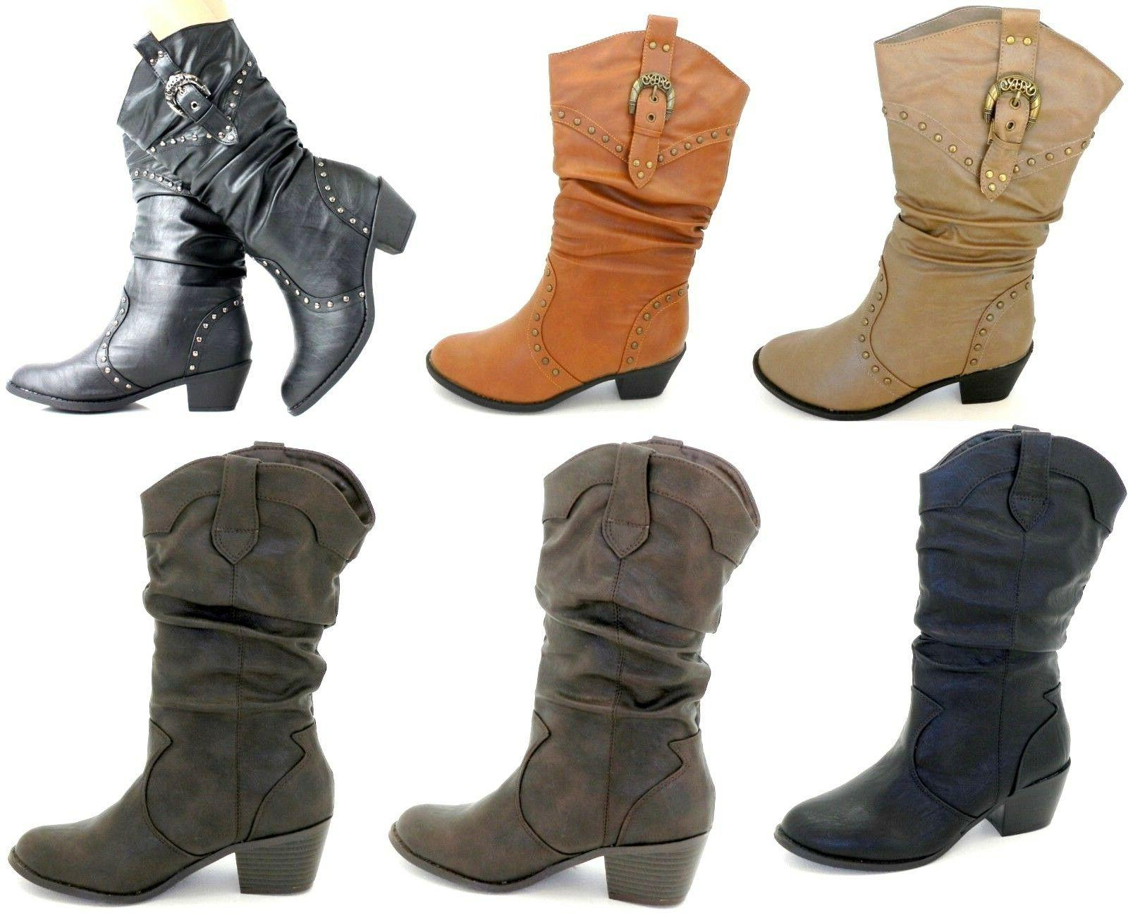 Mid Knee High Western Shoes Size 6-10