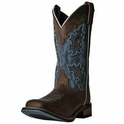 Laredo Women's Isla Western Cowboy Leather Boots Tan Blue De