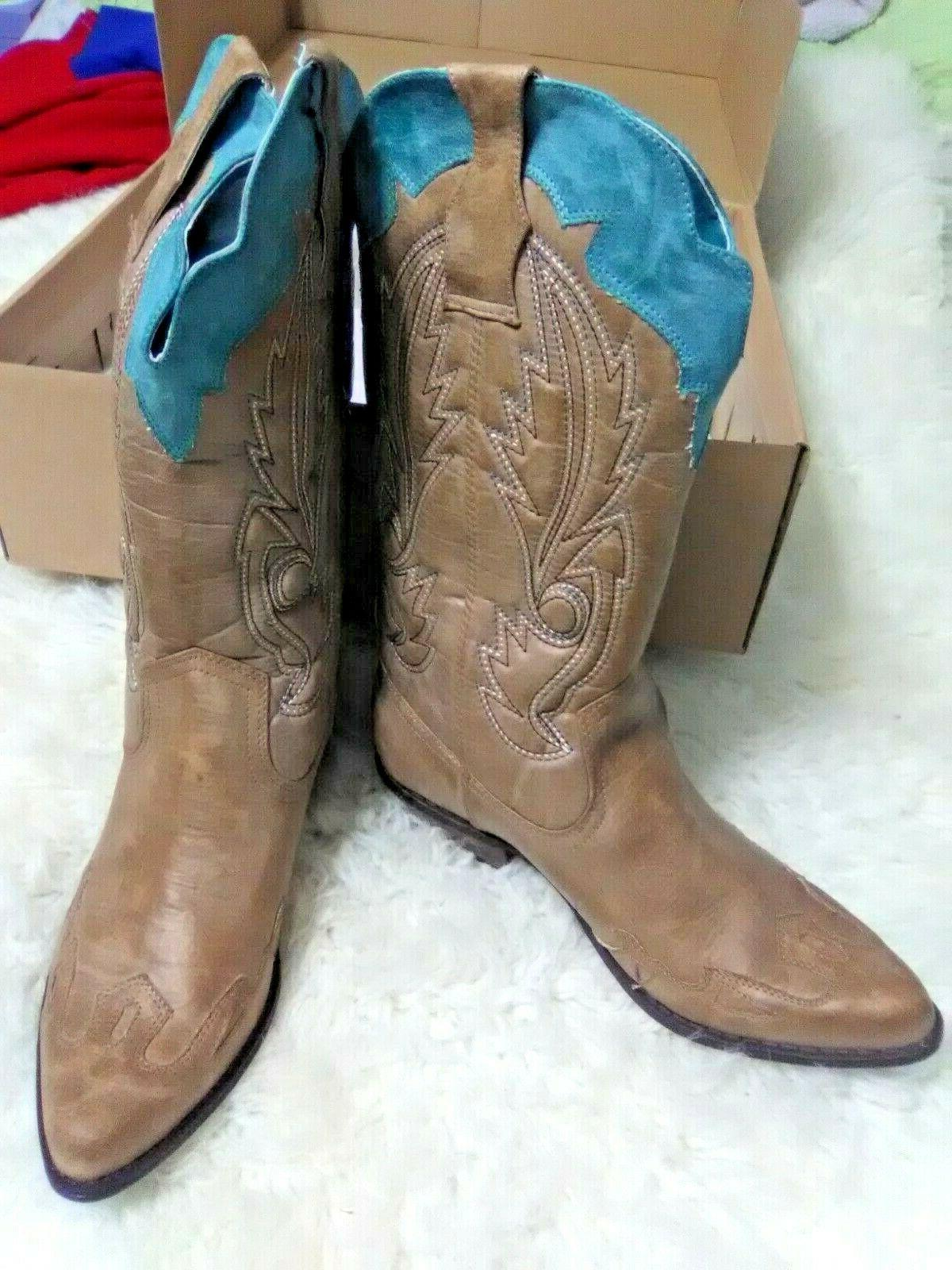 bc0588aaa34 Women's Tan & Turquoise Cowboy Boots COCONUTS