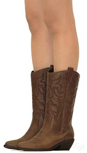 MVE Shoes Cowboy Toe High On Boots Tan