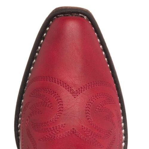 Women's Western Cowboy Boot | Red Square Snip Toe Silver