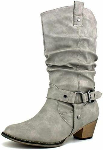 Women Cowgirl Slouch Boots Heel