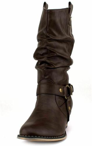 Women Western Style Cowboy Cowgirl Slouch Boots Heel